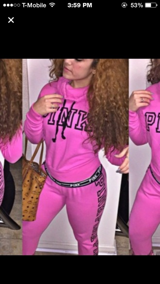 pants jacket pink by victorias secret pink kayg0ldi mcm sweatpants sweater fall outfits