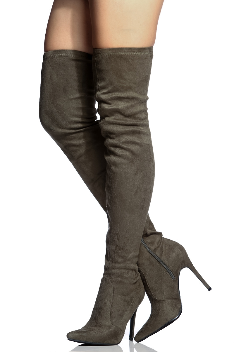 Olive Faux Suede Thigh High Pointed Toe Boots @ Cicihot Heel Shoes online store sales:Stiletto Heel Shoes,High Heel Pumps,Womens High Heel Shoes,Prom Shoes,Summer Shoes,Spring Shoes,Spool Heel,Womens Dress Shoes