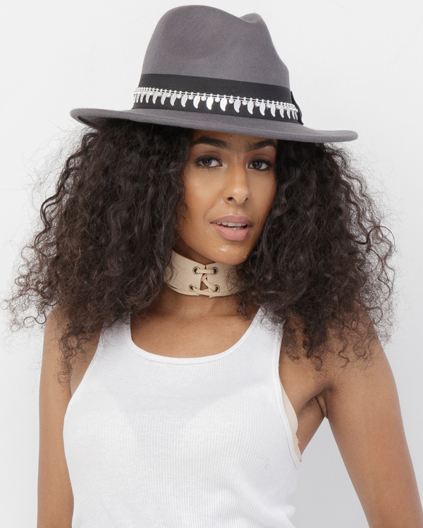 ARMA Wool Wide Brim Fedora Hat in Grey at FLYJANE