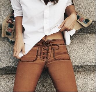 jeans lace up trousers leather boho pants pants suede brown summer skin lace up ribbon fashion autimn fall outfits orange fake suede faux suede suede pants lether soft boho bohemian bohemian pant bohemian pants sexy