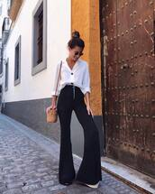 pants,black pants,top,white top,white shirt,bag,wide-leg pants