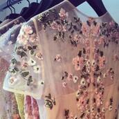 t-shirt,flowers,clothes,pink,transparent,short sleeve,beaded,kitchie,vintage,pastel
