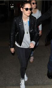 jacket,jeans,sneakers,kristen stewart,fall outfits,biker jacket