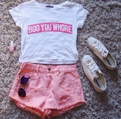 shirt,vera eremeychuk,crop tops,white,red,summer,t-shirt,tumblr,shorts,shoes,tips,clothes,hate,pink,bad girls club,white t-shirt,converse,pink nails,aviator sunglasses,outfit,ootd,heaven