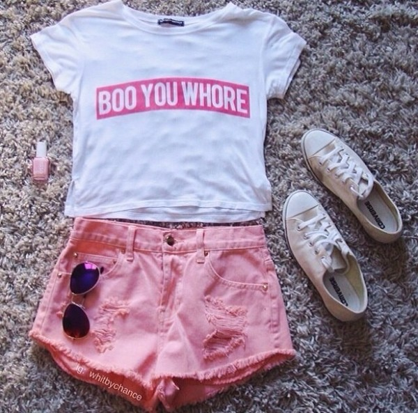 shirt vera eremeychuk crop tops white red summer t-shirt tumblr shorts shoes tips clothes hate pink bad girls club white t-shirt converse pink nails aviator sunglasses outfit ootd heaven bad girls club