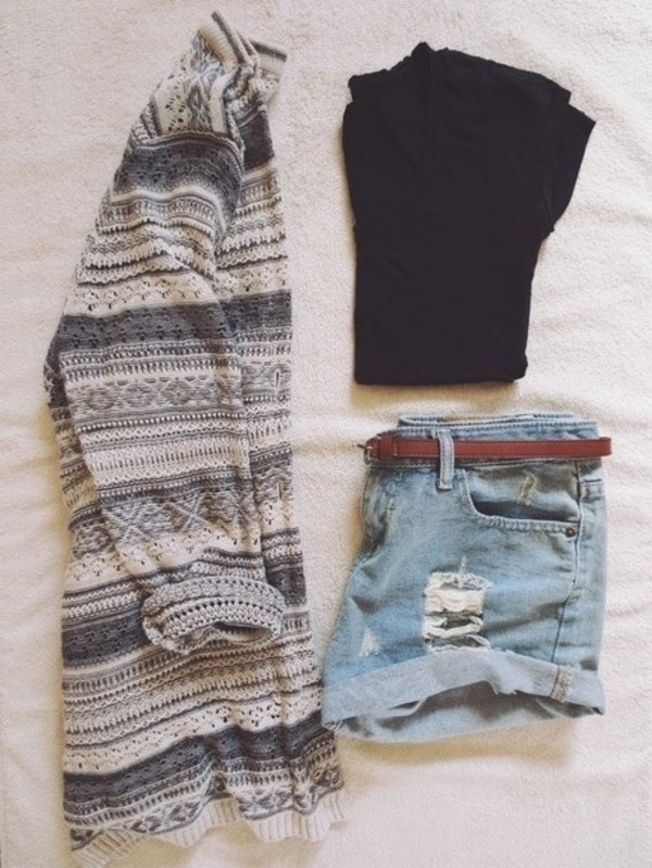 tribal cardigan tribal sweater knitted sweater black crop top black t-shirt ripped shorts distressed denim shorts denim shorts fall sweater fall outfits