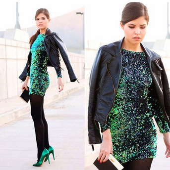 Green sequin mini dress · luxe muse · online store powered by storenvy
