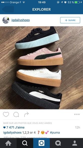 shoes puma black basket girl creepers cool black creepers puma suede