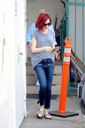jeans,top,lily collins,slide shoes,sunglasses