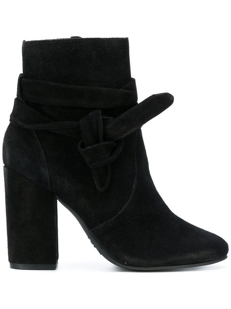 Schutz women leather suede black shoes