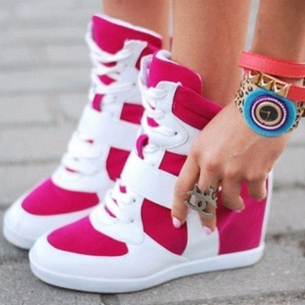 shoes hot pink jewels watch leopard print blue high top sneakers high top pink gym white girly girl cute heels heel bright sneakers pink hightops sport shoes sport wear hot pink white hightops love these high top sneakers high heels sneakers with heels sneakers style fashion girls sneakers hot pink high tops