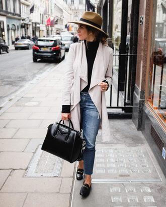 coat tumblr white coat denim jeans blue jeans cropped jeans bag black bag hat top turtleneck black turtleneck top