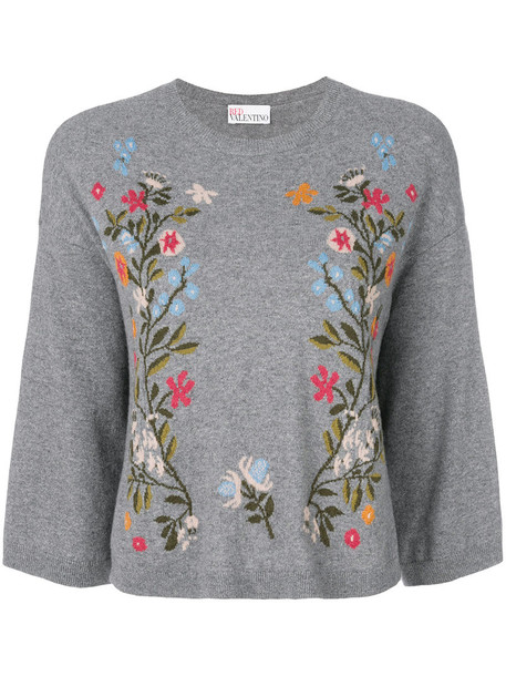RED VALENTINO jumper women floral wool grey sweater