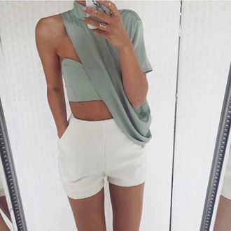 top green shirt need  one shoulder asymmetrical grey top turtleneck
