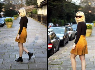 maisie ivy blogger sunglasses black shoes suede skirt spring skirt