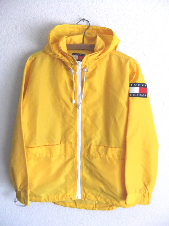 Tommy Hilfiger Anorak Raincoat - Club Kid Yellow Textured Parka ...