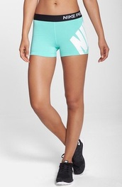 shorts,nike,nike pro,nike pro shorts,aqua,blue,black,white