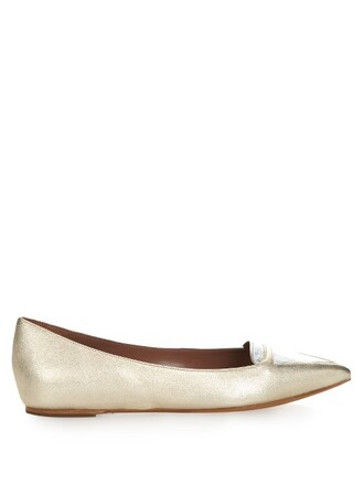 metallic flats leather flats leather gold shoes