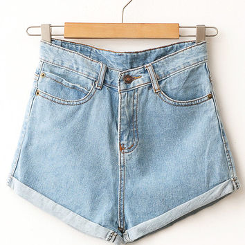 Light Wash High Waisted Denim Shorts | Wild Daisy on Wanelo