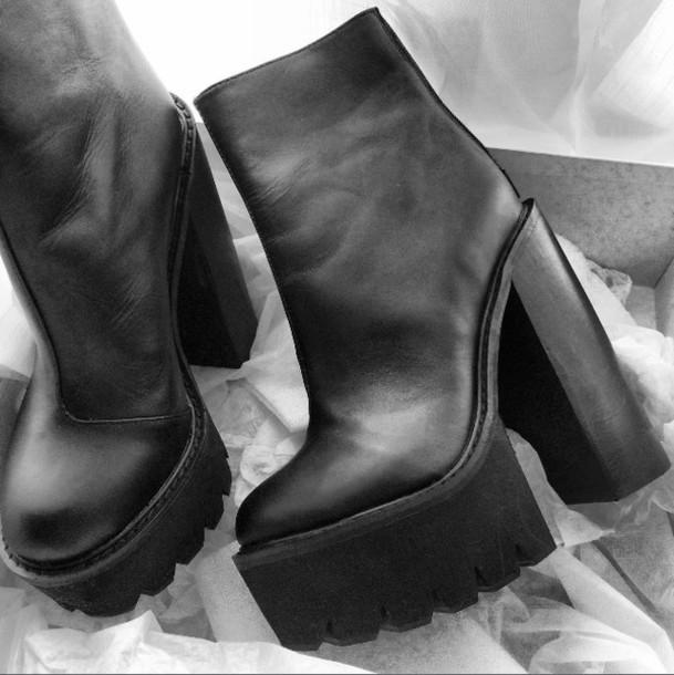 b5df1fe2092 Black Leather Chunky Heels | Tsaa Heel