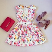 dress,floral,shoes,heels,birthday dress,pink shoes,high heels,pink heels,white dress,floral dress,summer,flowers,white,red,yellow,retro,red purse,brown shoes,gold,cut-out,short,floraldress floral print,cute dress,bag,jewels,white floral short dress,dress cut mini,skater dress,summer dress,colorful,colorful dress,red clutch,clutchr,ed,outfit,cute outfits,girly,spring,spring outfits,sidecut,short party dresses,cut-out dress,gorgeous,floral high heels,high heel sandals,fashion,style,summer outfits,summer accessories,cut out bodycon dress,v-line neck