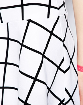 Monki grid print sweat skirt at asos
