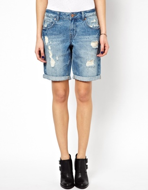 Noisy May | Noisy May Distressed Boyfriend Shorts at ASOS
