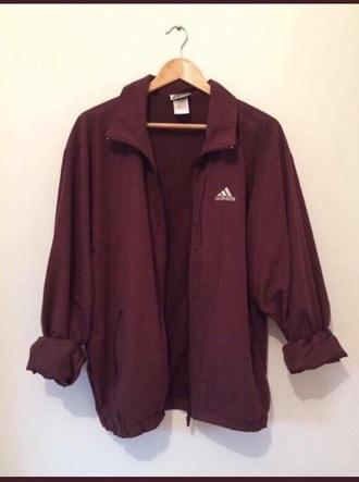 jacket adidas vintage purplish crimson coat