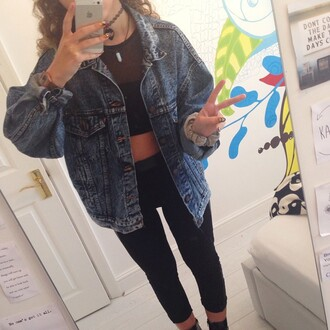 clothes casual jacket top denim grunge cool style trendy