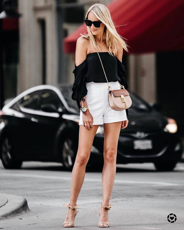 top tumblr black top off the shoulder off the shoulder top shorts white shorts sandals sandal heels high heel sandals bag sunglasses summer outfits shoes fashionjackson blogger jewels crossbody bag