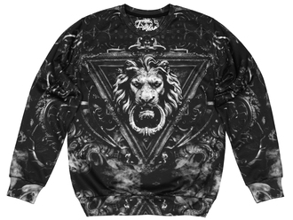 sweater printed sweater sweatshirt black sweater black sweatshirt jumper pullover stylish cool sweater cool lion full print sweater full print sweatshirt all over print sweatshirt