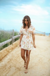 fashionbananas,blogger,dress,shoes,jewels,floral dress,summer dress,mini dress,summer outfits,sandals,flat sandals