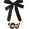 Floral leather-petal self-tie necklace