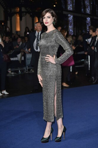 anne hathaway dress shoes long sleeve dress prom dress gown metallic
