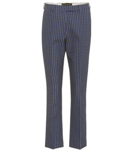 ETRO cropped jacquard cotton blue pants