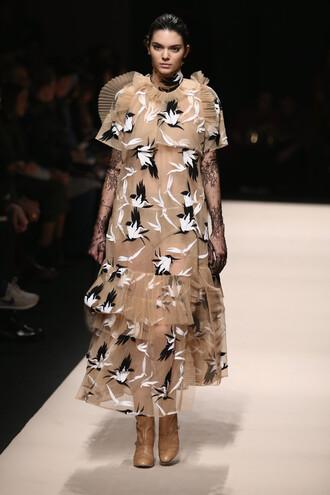dress fashion week 2015 fashion kendall jenner sheer couture dress chiffon dress nude dress birds