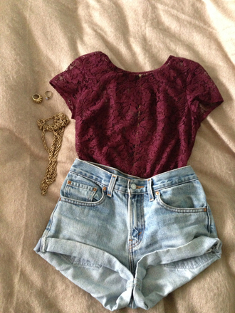 blouse lace burgundy shorts hipster swag summer gold jewels shirt high waisted shorts t-shirt love top roses hot red lace top red lace red shirt blue denim high waisted shorts floral high waisted denim shorts gold jewelry blue denim crop tops maroon/burgundy cute ring background jewelry necklace
