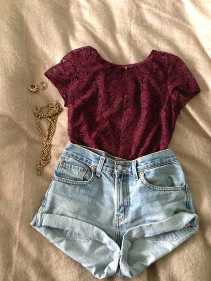red lace shirt high waisted short red lace top red shirt jewels blouse lace burgandy maroon shorts hipster swag bordeaux summer gold t-shirt love top roses so cute hot burgundy blue denim high waisted shorts floral high waisted denim shorts gold jewelry blue denim