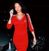 red dress,adidas,rihanna red dress,top