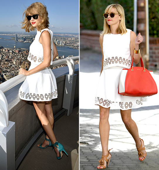 skirt leather skirt top reese witherspoon taylor swift shoes sandals