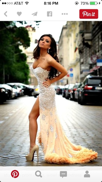 dress nude and silver silver dress prom dress long prom dress slit dress sparkly dress nude dress