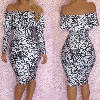 2014 New Fashion Sexy Ruffles Strapless Bandage Dress Long Sleeve Off the Shoulder Vintage Printed Bodycon Evening Club Dress | Amazing Shoes UK