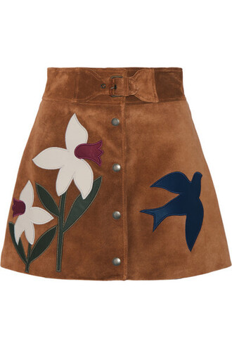 skirt mini skirt mini tan leather suede