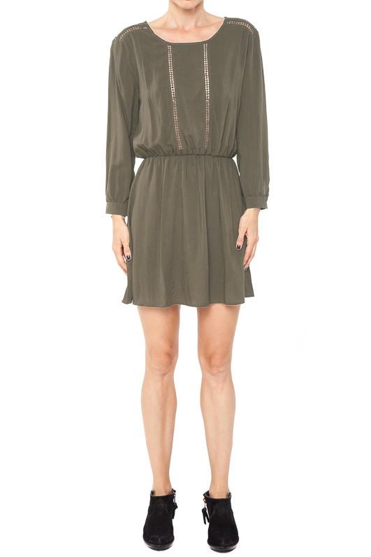 Long sleeve dress in dark olive