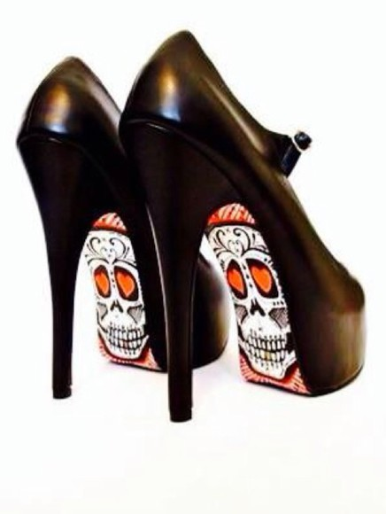 black skull shoes red