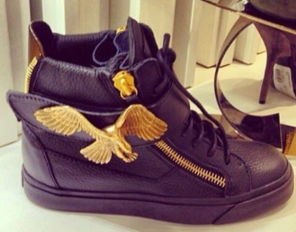 shoes black shoes gold sneakers style guiseppe zanotti dope swag all black everything