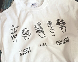 shirt plants friends flowers black white pale tumblr grunge soft grunge
