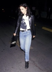 jeans,shirt,t-shirt,menswear,black and white,black,white,jacket,leather,leather jacket,leather belt,black belt,belt,blue,blue jeans,boots,black boots,combat boots,combat,winona ryder,grunge,90s style,pale,skirt,sweater,90s grunge,shoes,college