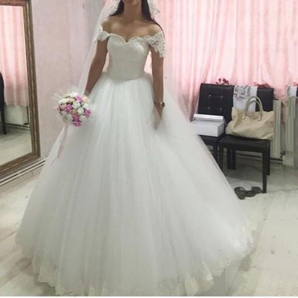 Dress ball gown wedding dresses off shoulder wedding for Plus size off the shoulder wedding dress