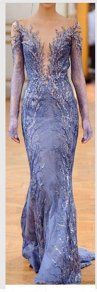 dress periwinkle lace dress prom dress formal dress